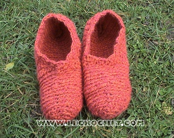 Crochet Wool Slipper pink hot
