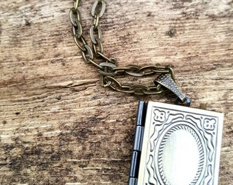 Antique Bronze Brass Story Book Locket