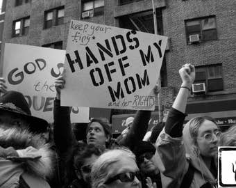 B&W #Photograph, #Resist, she persisted, Hands Off My Mom, haiku, feminist, photo print, wall art, home decor, protest, #womensmarch