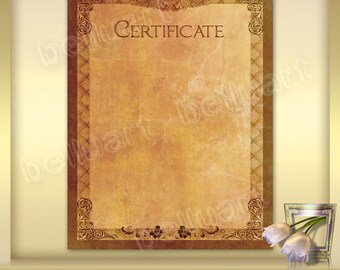 Printable Certificate Template No.4 - Photoshop Template - old paper certificate - blank certificate - 8.5 x 11 - Instant Download
