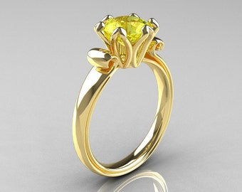 Modern Antique 14K Yellow Gold 1.5 Carat Yellow Topaz Solitaire Engagement Ring AR127-14YGYT