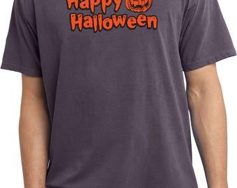 Men's Happy Halloween with Pumpkin Sketch Pigment Dyed Tee T-Shirt HHP-PC099