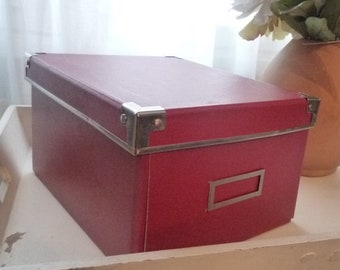 Bright red box with label holder