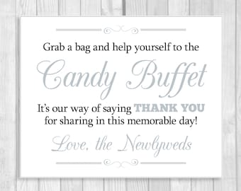 SALE Grab a Bag and Help Yourself to the Candy Buffet 8x10 Printable Black, White and Silver Wedding Reception Sign - Instant Download