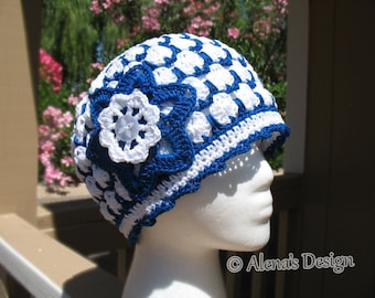 Crochet Pattern 014 Beanie Hat & Flower Clip Ladies Summer Hat Baby Girl Hat Girls Beanie Lace Beanie with Flower Easter Christmas Gift