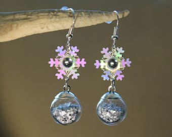 "Earrings ""boule de neige"" winter, Christmas, fantasy"