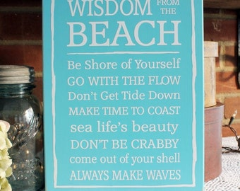 Beach Sign with Sayings Wooden Wall Decor - Summer - Coastal Living - Beach Cottage Decor - Happy Place