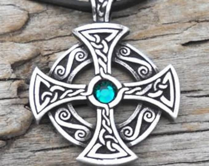 Featured listing image: Pewter SOLAR CROSS Swarovski Crystal Celtic Druid Irish Emerald Green MAY Birthstone Pendant