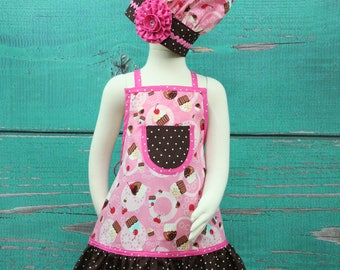 Kids Apron, Girls Apron Set, Birthday Party Apron, Cupcake Apron, Little Girls Apron, Chef Set, Childrens Aprons, Child's Apron
