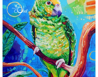 "Yellow Headed Amazon Parrot - Original painting, one of a kind, animal, bird, parrot, colorful, traditional, acrylic, heavy paper 9""x12"""