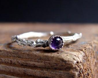Skinny Ring Twig Ring Stacking Ring Amethyst Gemstone Ring Botanical Jewelry February Birthstone