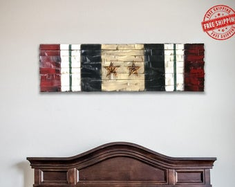Iraq Campaign Ribbon, Service Ribbon, Wood Military Decor, Rustic Military Gift 41x12