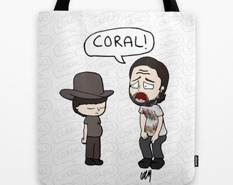 The Walking Dead, Rick Grimes, Coral, Stuff and Thangs, Walking Dead gift, Walking dead illustration, Book bag, school bag, tote, gift, napp