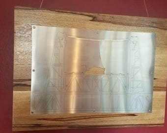 Steele Bridge illustration in stainless steel and copper on wood, wall hanging, Portland Oregon, PDX