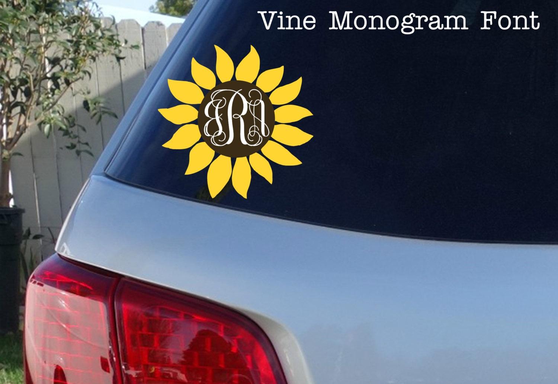 Sunflower Monogram Car Window Decal Initials Car Window - Monogram decal for car window