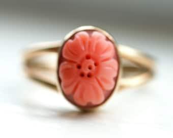 Vintage Carved Coral Flower Ring