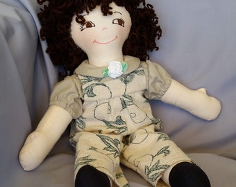 Old fashioned 15 inch cloth doll, with hair and eye color of your choice, comes dressed in beige overalls and matching shirt