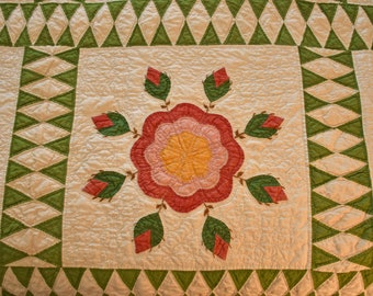 Gorgeous: Very Large Whig Rose Applique Antique Quilt- Striking Pieced Diamond Sashing with Excellent Quilting!