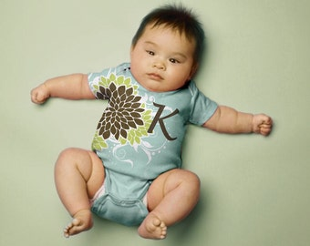 Personalized Baby Girl Bodysuit, Mums in Aqua, Lime and Brown Monogrammed Infant One-Piece