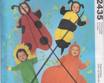 1990s McCalls Sewing Pattern No 2435 for Babies/Infants Costumes Bee, Sunflower, LadyBug, Pumpkin,  Uncut, Factory Folded