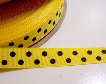 Yellow Ribbon, Yellow and Black Polka Dot Grosgrain Ribbon 7/8 inch wide x 10 yards
