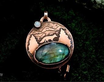 Copper labradorite pendant, Labradorite pendant, Blue labradorite pendant, Labradorite necklace, fox labradorite necklace, Fox pendant, fox