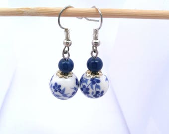 Blue Chinese porcelain bead earrings