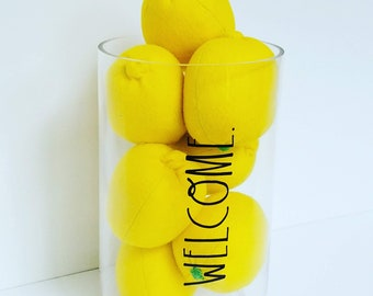 Felt Lemon, Eco-Friendly, Felt Fruit, Lemon Decor, Lemon Gift, Montessori Play Food, Waldorf Play Food, Felt Play Food, Play Kitchen, Lemons