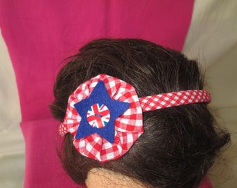Dressy headband with red gingham with a fabric flower
