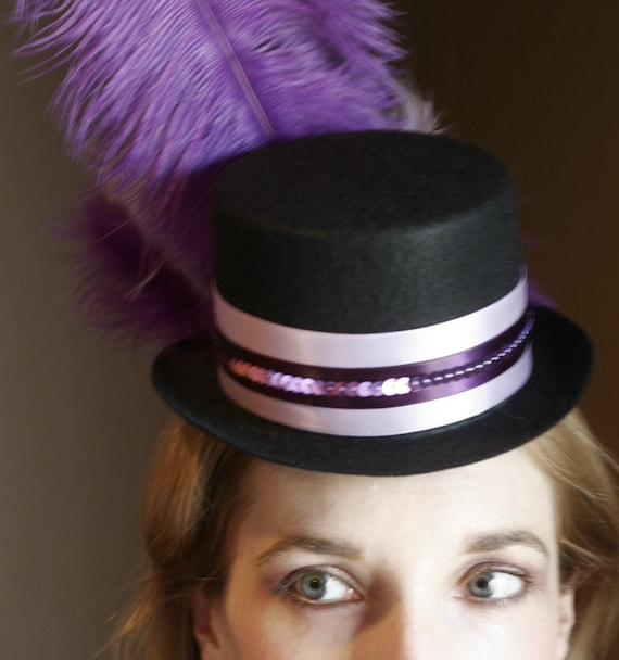 Purple and Lavender  Mardi Gras Mini Top Hat - Burlesque Showgirl Style