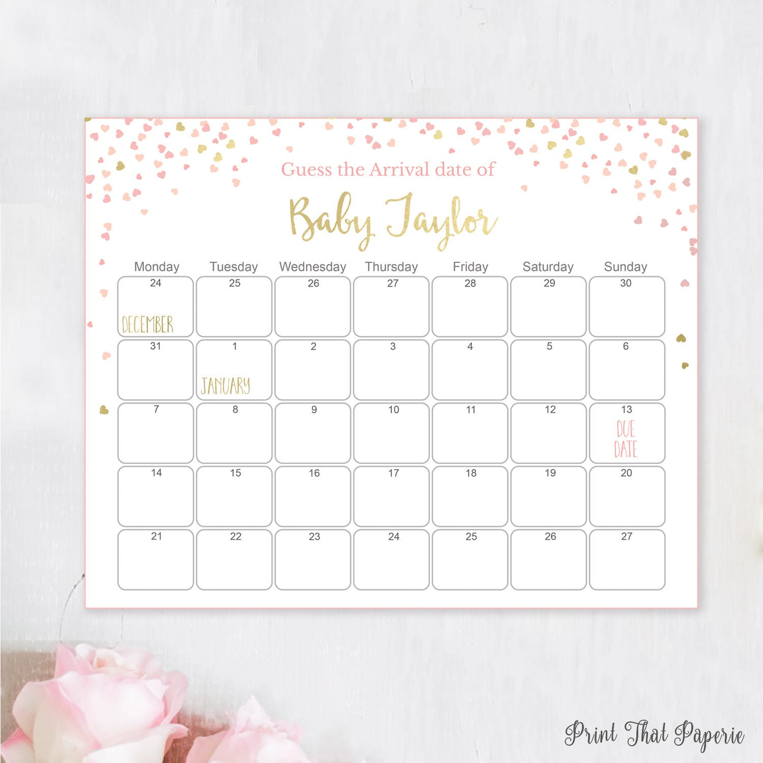 Guess The Birth Date Baby Shower Game: Guess The Due Date Pink Baby Shower Games Baby Shower