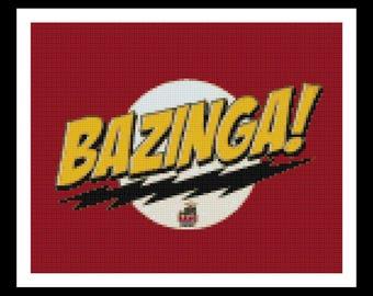 Bazinga - Big Bang Theory Cross Stitch Pattern - PDF Download