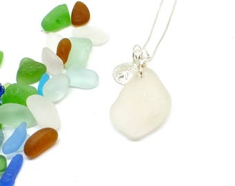 Sea Glass Necklace, Seaglass Jewelry, Sterling Seaglass Necklace, Beach Jewelry, Lake Jewelry, Starfish Necklace