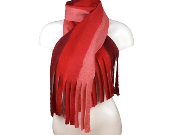 Red striped wet felted scarf with tassels, merino wool