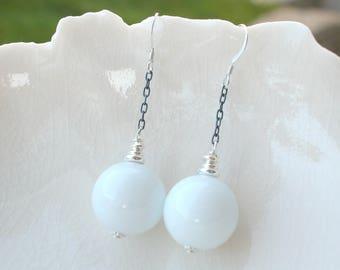 White Earrings In Murano Glass