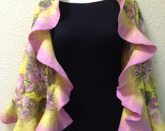 Ruffle Edge Wrap Shawl Stole Hawaiian Time Merino wool silk cotton pink yellow flowers hand made gift for her any occasion