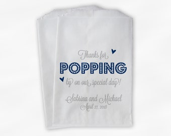 Thanks For Popping By Popcorn Bags - Navy Blue and Gray Script Candy Buffet Favor Bags for Wedding, Birthday, Shower - Paper Treat Bags
