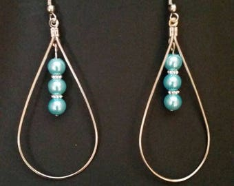 Teardrop Hoop Earrings with Aquamarine  Color Beads