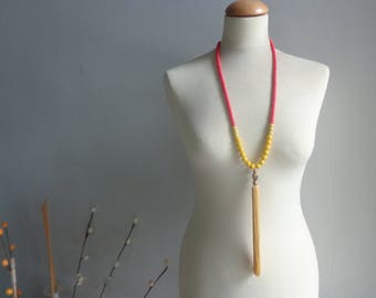 Yellow red tassel necklace, yellow statement necklace, long yellow necklace