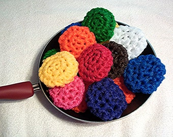 Crochet Kitchen Pot Scrubbers - Set of 4 -  Nylon Pot Scrubbies - Scouring Pads