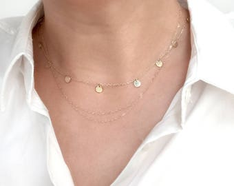 Double strand necklace, double necklace, 14k gold double necklace, layering necklace, solid gold chain