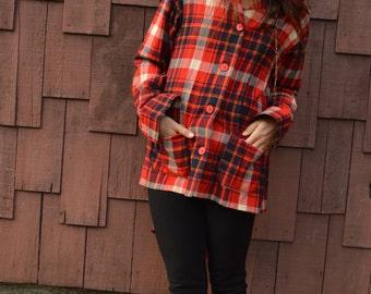 Vintage 60s Pendleton Flannel Shirt Jacket Red Unisex Lumberjack Button Up