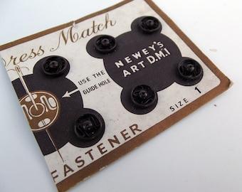 Vintage Brown Rustless Metal Snap Fasteners - Size 1 - Craft Supplies