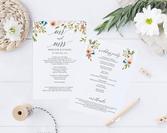 Printable Wedding Program, Wedding Program Template, Romantic Wedding, Ceremony Printable Template, Editable PDF Instant Download #E035