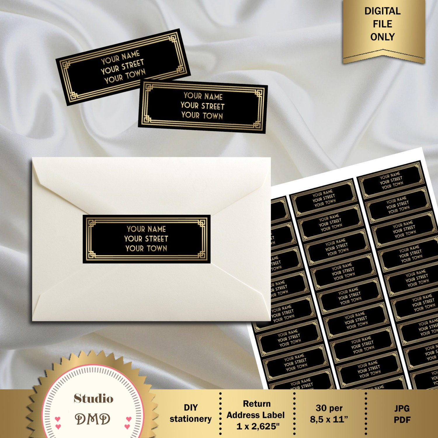 Great Gatsby Style Art Deco Return Address Label or Favor Tag