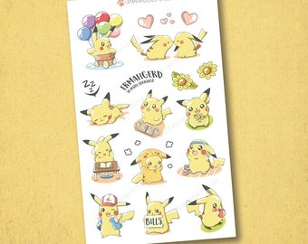 Pokemon Pikachu Activities Stickers - Kawaii Chibi Pokemon planner stickers, EC stickers, Personal Planners