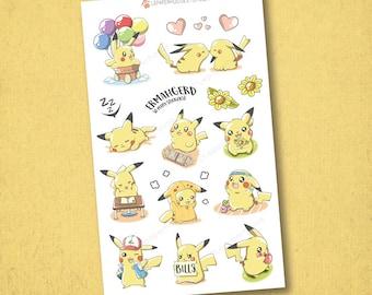 Pokemon Pikachu activités Stickers - Autocollants de planificateur Kawaii Chibi Pokemon, EC autocollants, agendas