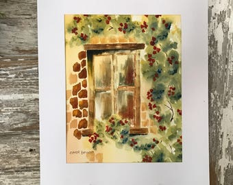 Watercolor Painting of an Old Window with a Climbing Red Rose-European Scene