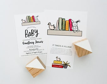 Digital Files, Book Themed Baby Shower with Thank You Card and Gift Insert - Books - Story Book Themed - Baby Shower - Invitation - PDF File