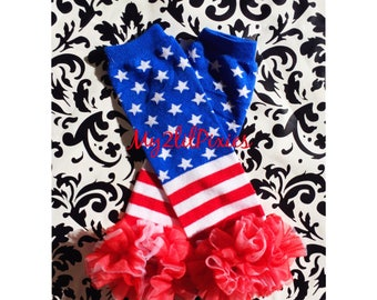 4th of JULY Leg Warmers.  Red white and blue, American Flag Leg Warmers, Striped Leg warmers, Star leg warmers, Ruffle leg warmers